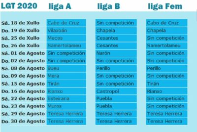 calendario Liga Galega Traiñas 2020